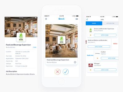 Job hunting app toronto favorites home tinder swipe card minimal ios app ui ux mobile