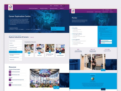 SAIT Youth Engagement education program tabs slider cards blue photography modern landing page homepage