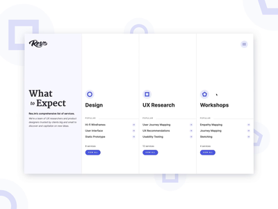 What to expect menu design interaction webflow homepage design purple white columns minimal agency catalogue services menu