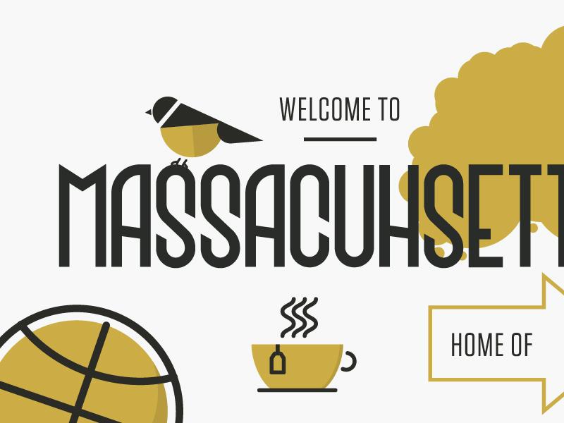 Welcome to Massachusetts vector illustration home basketball tea chickadee massachusetts