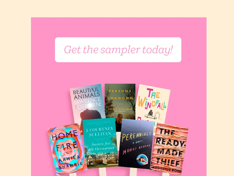 Book Sampler web email banner books pink typography