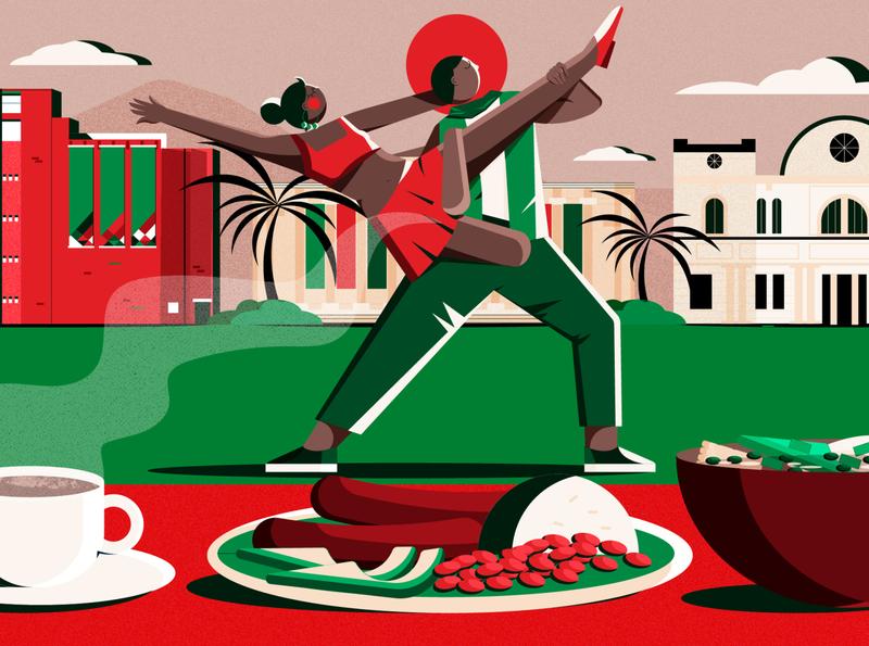 City Loops Colombia Culture Trip columbia food minimal design editorial editorial illustration vector illustrator illustration