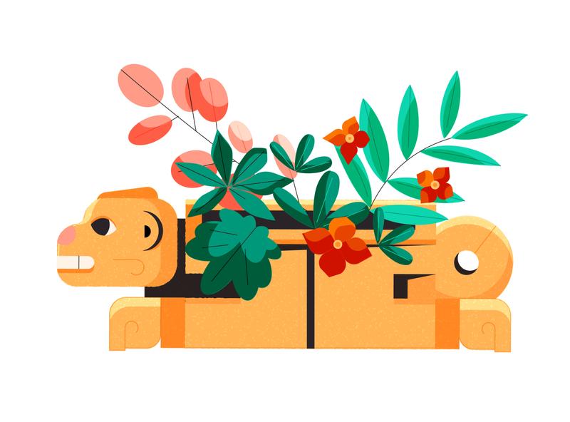 Real Rainforest Remedies spot 2 character designer culture ancient mayan belize rainforest jungle plants flowers 2d animals character designs character design minimal editorial editorial illustration vector illustrator illustration