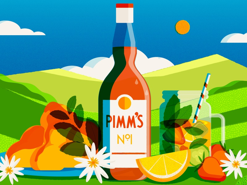 Drunk Histories The Story of Pimms pimms alcohol uk british culture food design minimal editorial vector editorial illustration illustrator illustration