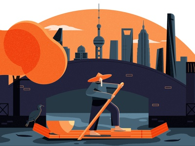 How Shanghai Became China's Economic Powerhouse editorial illustrator design vector editorial illustration illustration asia city fisherman shanghai china