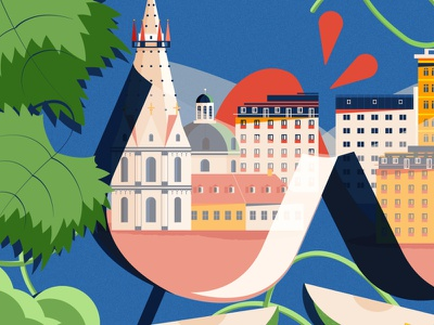 Vineyards in Vienna: Header food austria wine design minimal editorial illustration vector editorial illustrator illustration