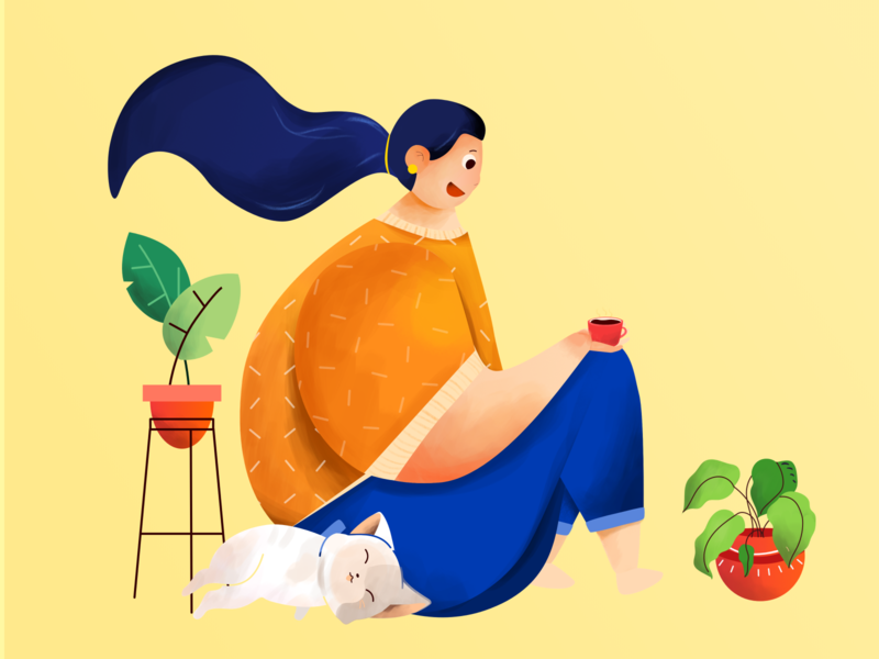 Comfy - Character illustration character design character hero hero banner illustration flat illustration flat  design flat