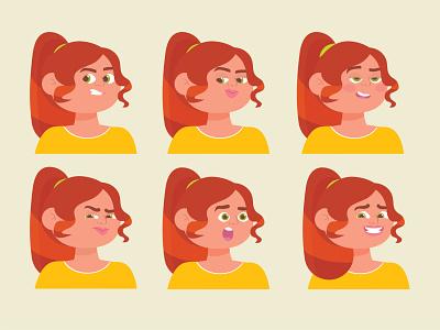 Expression Sheet expressions women in illustration women character colorful illustrator character design vector creative art cartoon illustration adobe illustrator