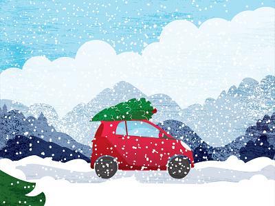 Holiday season car landscape snow christmas tree christmas holidays digital illustration digital art drawing winter wonderland winter colorful art vector artwork creative adobe illustrator cartoon illustrator illustration