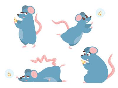 A quick expression sheet rat year 2020 vectorart vector illustration vector art artist characterdesign pizza illustration art character creative vector art cartoon artwork colorful rat character design illustrator illustration