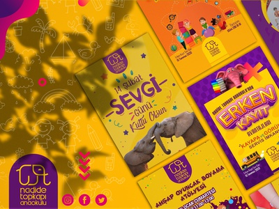 Kindergarten Social Media Post Template & Brochure Design brochure design freelance socialmedia purple logo yellow logo children kindergarten branding logo desing design illustration color art mockup hello dribbble graphic design digital art