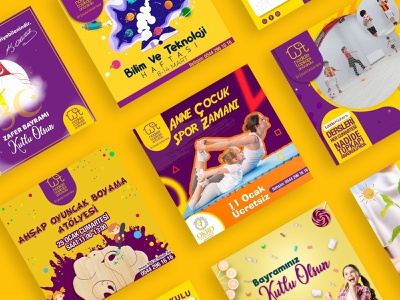 Kindergarten Social Media Post Template & Brochure Design brochure design yellow logo purple logo children kindergarten elephant socialmedia icon vector logo branding ui color art mockup hello dribbble graphic design digital art