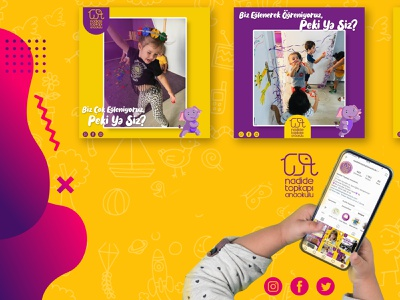 Kindergarten Social Media Post Template & Brochure Design freelance gradient logo yellow logo purple logo elephant baby children kindergarten socialmedia typography ui vector branding logo design mockup hello dribbble graphic design digital art