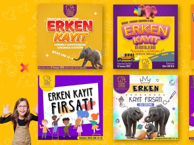 Kindergarten Social Media Post Template & Brochure Design gradient logo yellow logo purple logo elephant children kindergarten freelance free template post socialmedia vector branding logo adobe photoshop mockup hello dribbble graphic design digital art