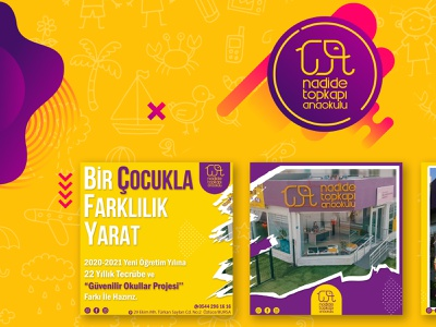 Kindergarten Social Media Post Template & Brochure Design kids brochure elephant yellow logo purple logo children kindergarten vector branding design socialmedia adobe mockup hello dribbble graphic design digital art