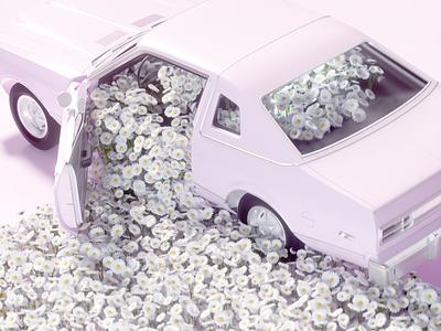 Flower & car surealism design 3d art direction