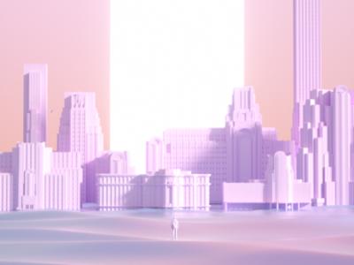 Iridescent city octanerender surealism design 3d art direction