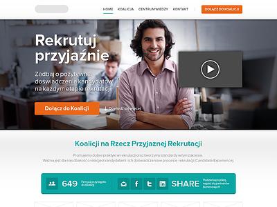 Friendly recruitment end result webdesign web website landing page flat clean simple orange friendly smile design web design