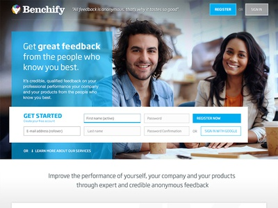 Benchify webdesign clean website simple web web design blue friendly uk form icons product page
