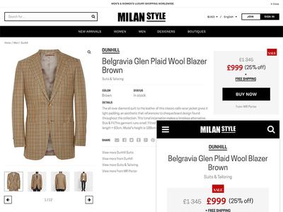 Milan Style product page minimalistic flat responsive rwd ecommerce product fashion ux webdesign