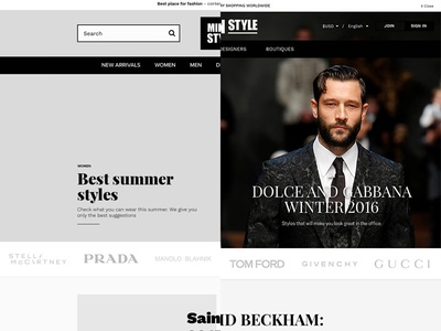 Milan Style home page ecommerce minimalistic responsive rwd playfair clean style fashion