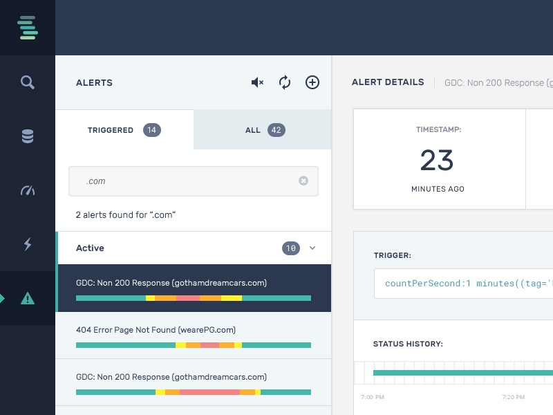 Alert Panel - experiments with styling data chart design dashboard analytics app clean ui ux