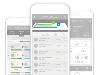 Fantasy Sports App minimal clean mockup iphone design ux data wireframes ios mobile app prototype