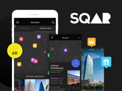 sqAR city building pointers ios ui dark app ar map explore
