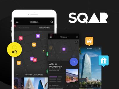 sqAR city building pointers ios ui dark app ar map explore