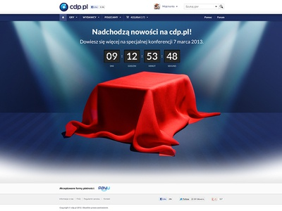 Splash page cdp.pl web design webdesign cdp splash page web counter layout blue simple clean