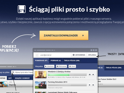 Cdp Downloader website cdp downloader app simple landing page blue navi icons