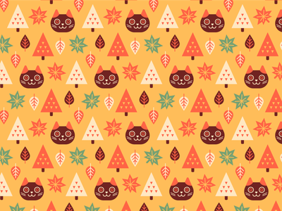 Autumn cat pattern leaves autumn pattern graphic cat illustration design