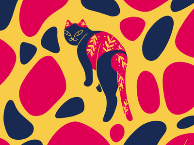 A cat is on stone pavement graphic animal procreate cat illustration design