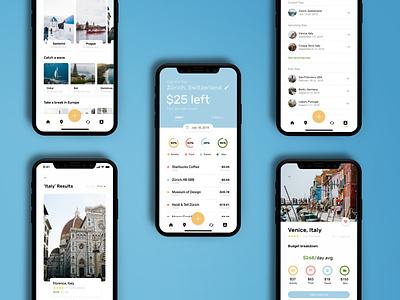 Travelr trip planner trips dataviz data minimal flat ui ux app design budget money travel