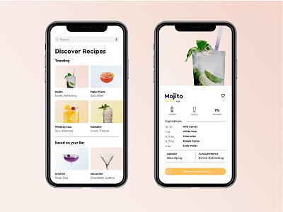 Cocktail Recipe Card product ui minimal flat app dribbble mybar cocktail recipe dribbbleweeklywarmup