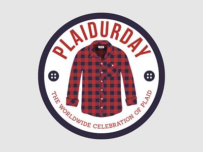 Plaidurday Mark logo plaidurday flannel button