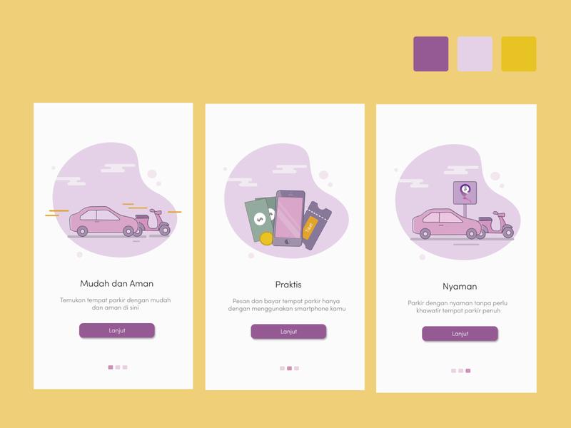 parkir logo pastel color pastel ux ui illustration icon design app