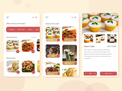 Indonesian Food flat illustrator pastel color pastel ux ui app illustration icon design