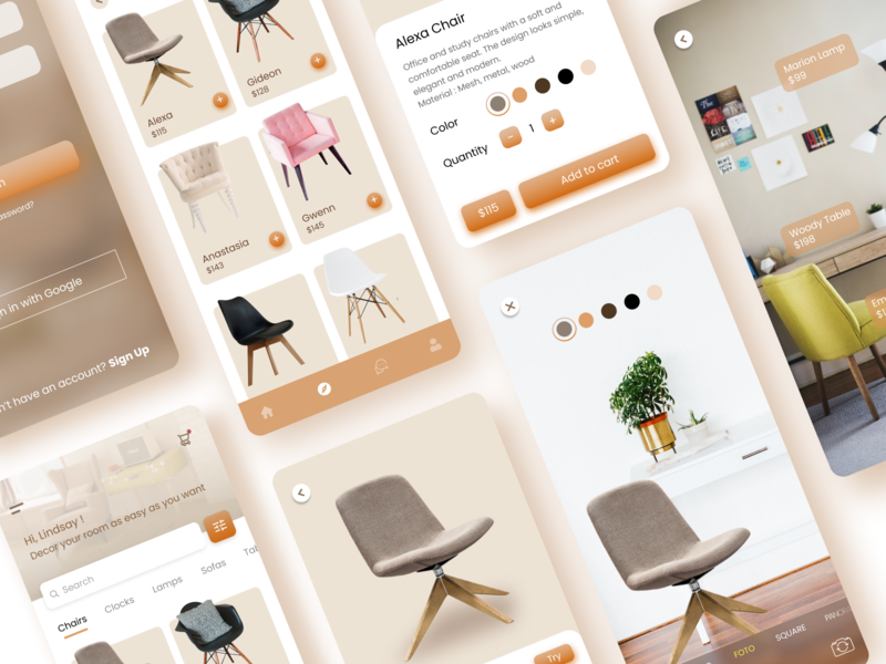 Online Furniture Store with AR furniture store furniture app furniture brown minimalist minimal flat illustrator ux ui app illustration icon design