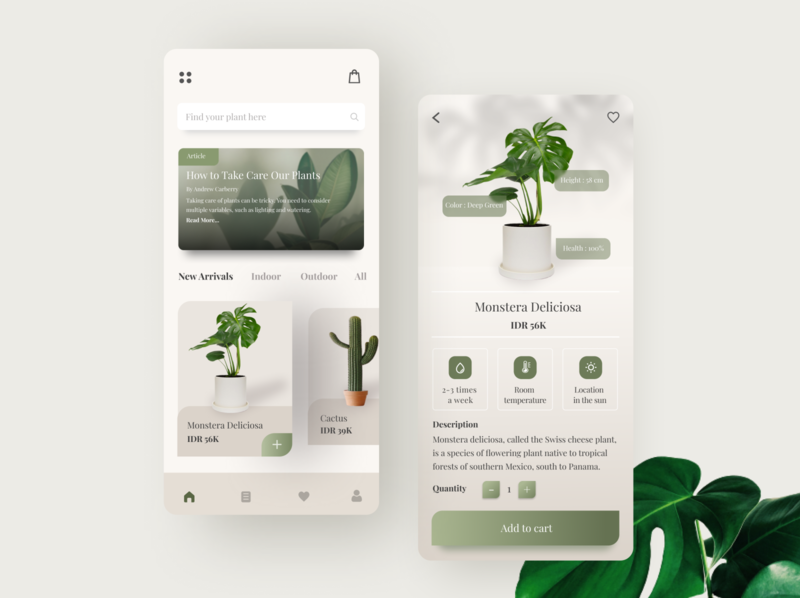 Online Plant Store grey clean uiuxdesign uidesign uiux green online store plant store plant brown minimalist minimal illustrator ux ui app illustration icon design