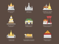 Icons set : 9 temple in Bangkok (Vector)