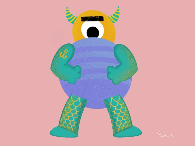 Tough boi digital art creepy boi ghoul yellow drawing draw procreate illustrations designer design turquoise pink halloween spooky monster tough