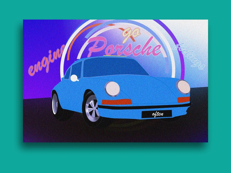 Feeling car neon porsche car photoshop design illustration