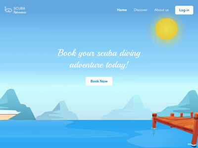 Scuba Diving Booking Website Animation animation ocean life ocean art ocean scuba diving scuba ux animal sea nature illustration illustration art website colors ui landing design after effects animation after effect ui design mindinventory