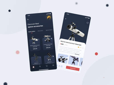 Space Accessories Store design app designs app designer app ecommerce app uidesign uiux telescope shopping shopping app eccomerce space shop space app design ui  ux ux ui ui design colors design