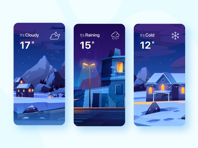 Weather Card V2.0 application vector night weather forecast weather app weather ux ui nature mobile illustration design card design color cold card app design app adventure