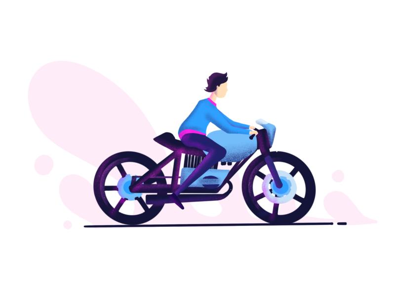 Enjoy a Bike Riding dribbble uplabs blue pink sketch photoshop illustrator bike riding riding bike enjoying enjoy a bike riding