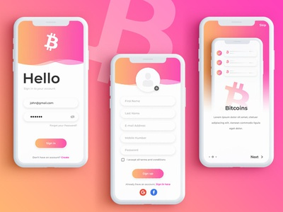 Bitcoin - Splash & Sign Up Screen for an App uplabs sign up screen app design design bitcoin app bitcoin ui login ui app