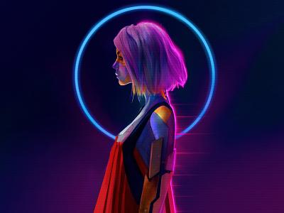 Dark light for robot girl - Space Game ui design ui dashboard login ui app uiux uidesign photoshop mockup design illustration ui