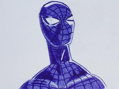 The blue Spiderman pen drawing illustration sketch spiderman blue ballpoint pen comic art marvelcomics marvel
